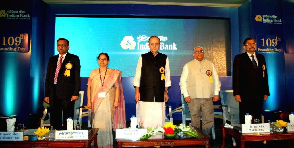 Union Minister for Finance, Corporate Affairs, and Information and Broadcasting Arun Jaitley during the 109th FoundationDay celebrations of Indian Bank in New Delhi, on Aug 21, 2015.