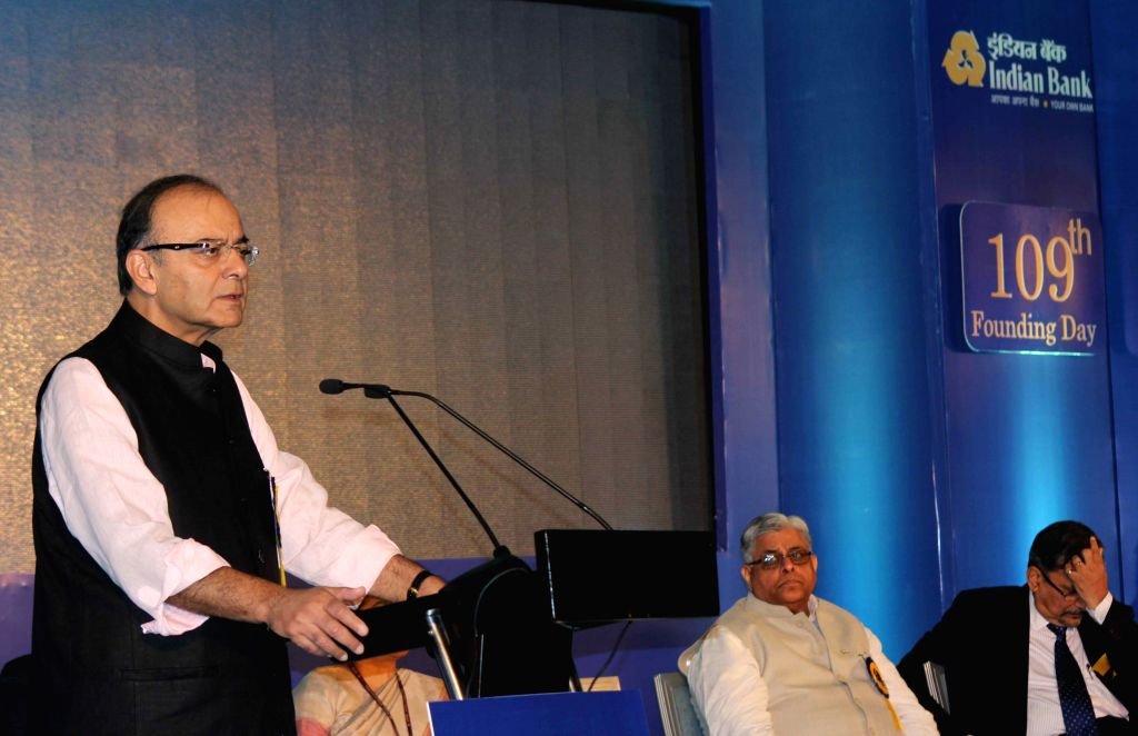 Union Minister for Finance, Corporate Affairs, and Information and Broadcasting Arun Jaitley addresses during the 109th FoundationDay celebrations of Indian Bank in New Delhi, on Aug 21, ...