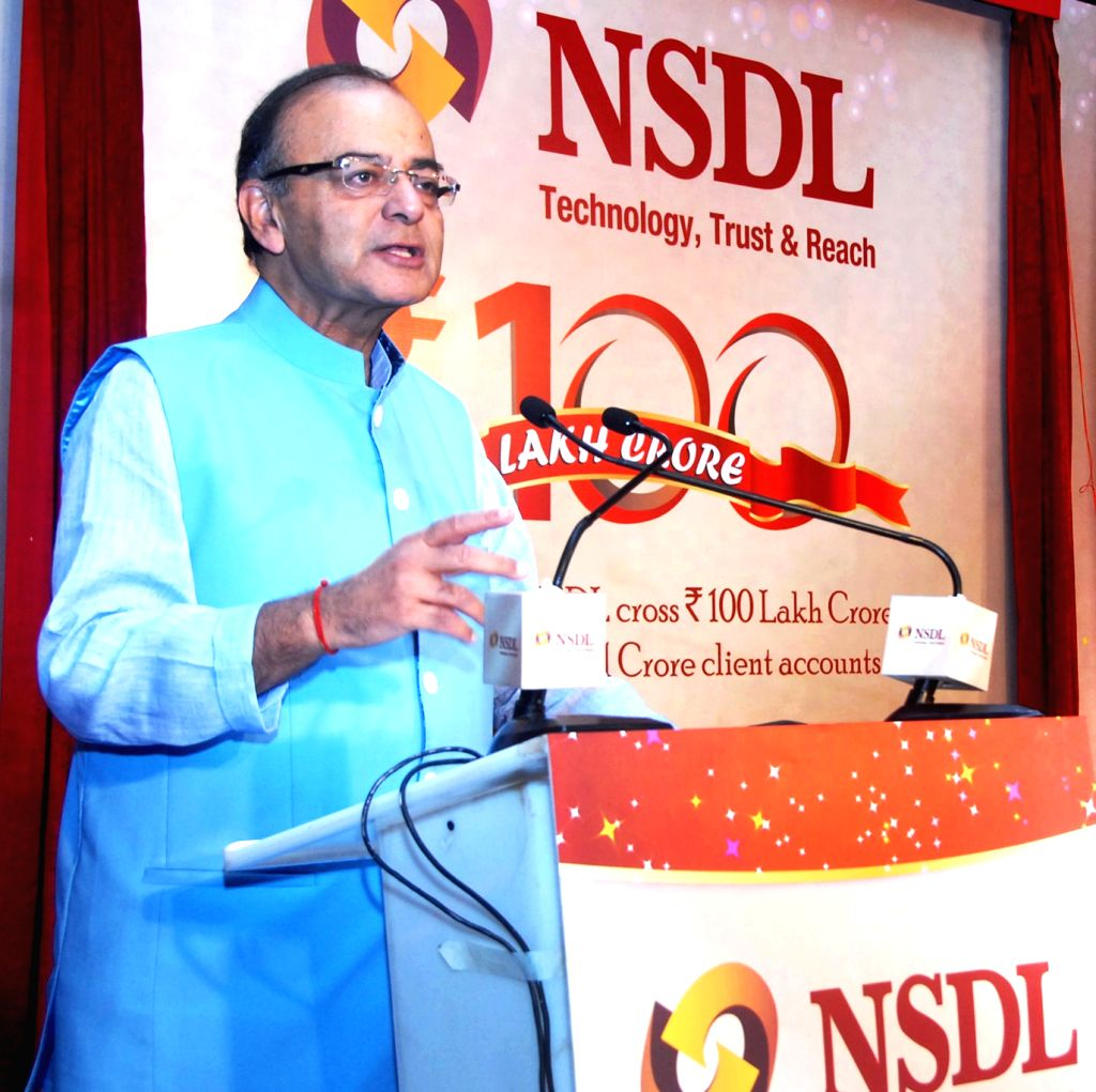 """Union Minister for Finance, Corporate Affairs and Information and Broadcasting, Arun Jaitley addresses at """"Celebration of a Historic Milestone"""" function of National Security Depositary ..."""