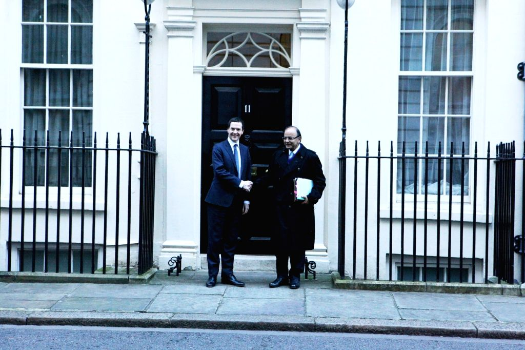 Union Minister for Finance, Corporate Affairs, and Information and Broadcasting Arun Jaitley and Britain's Chancellor of the Exchequer George Osborne ahead of the 8th India-UK Economic and ... - Arun Jaitley