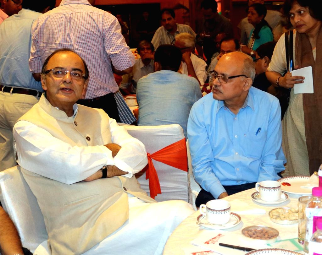 Union Minister for Finance, Corporate Affairs and Information and Broadcasting Arun Jaitley during a programme organised to interact with journalists regading the achievements of NDA ... - Arun Jaitley