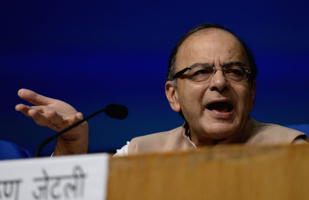 Union Minister for Finance, Corporate Affairs, and Information and Broadcasting Arun Jaitley addresses a press conference in New Delhi on June 29, 2016. - Arun Jaitley