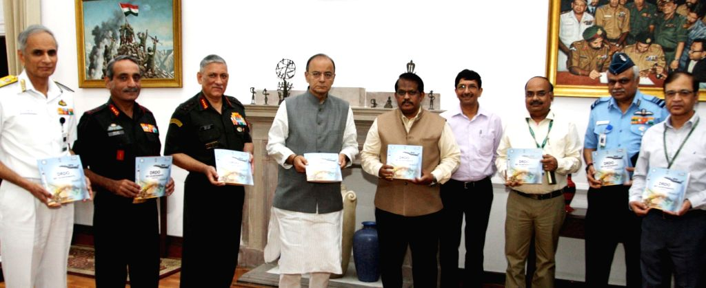 Union Minister for Finance, Corporate Affairs and Defence Arun Jaitley unveils the compilation of the contribution of Defence Research & Development Organisation (DRDO) to the Indian ... - Arun Jaitley