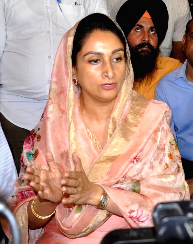 Union Minister for Food Processing Industries Harsimrat Kaur Badal talks to press after a meeting with industry heads and farmers on the Indian government's 'Kisan Sampada Yojana' scheme in ...