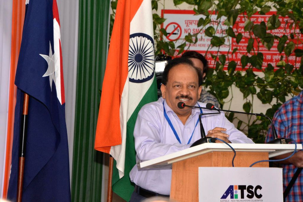 Union Minister for Health and Family Welfare, Dr. Harsh Vardhan addresses during a programme organised on the visit of Australian Prime Minister Tony Abbott to AIIMS Trauma Centre in New Delhi on ... - Tony Abbott