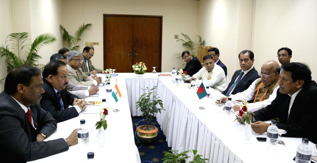 Union Minister for Health and Family Welfare, Dr. Harsh Vardhan and his Bangladeshi counterpart Mohammed Nasim during a bilateral meeting, in Bangladesh on September 09, 2014.