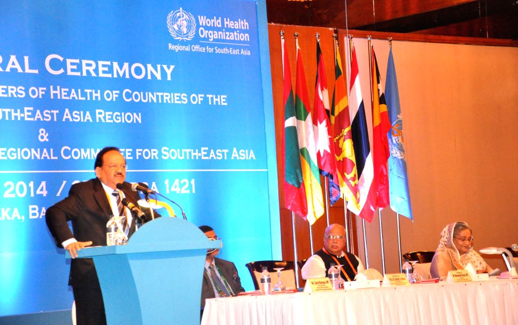 Union Minister for Health and Family Welfare, Dr. Harsh Vardhan addresses at the 32nd meeting of the Ministers of Health of WHO South-East Asia Region and 67th Session of WHO Regional Conference for .