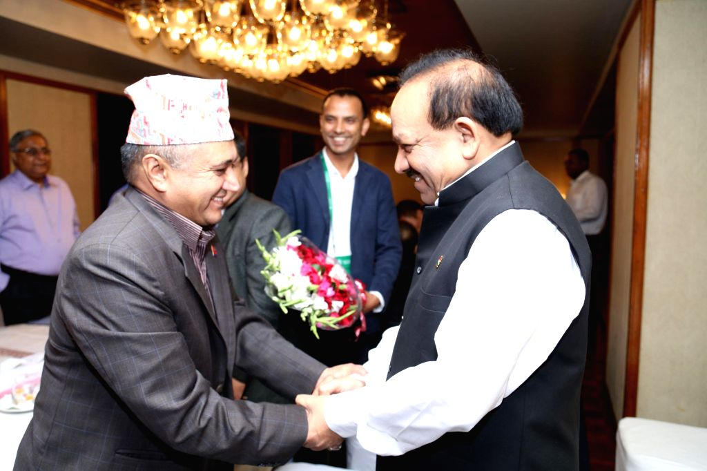 Union Minister for Health and Family Welfare, Dr. Harsh Vardhan meets his Nepalese counterpart Khagaraj Adhikari in Dhaka, Bangladesh on September 08, 2014.