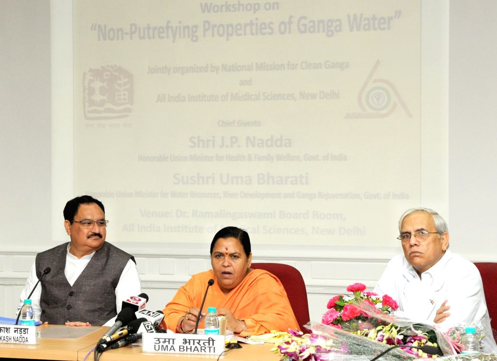 Union Minister for Health and Family Welfare J P Nadda and Union Water Resources Minister Uma Bharti during a workshop on ``Non-putrefying Properties of Ganga Water``, organised by the ... - Uma Bharti and M C Mishra