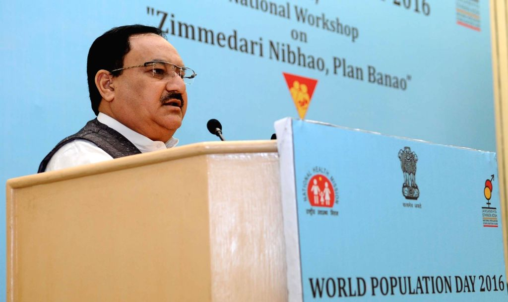 """Union Minister for Health and Family Welfare JP Nadda addresses at a National Workshop on """"Jimmedari Nibhao, Plan Banao"""", organised on World Population Day, in New Delhi on July ..."""