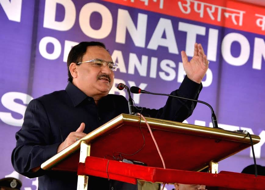 Union Minister for Health and Family Welfare JP Nadda addresses on the occasion of OrganDonation Day programme organised by the BSF in collaboration with National Organ and Tissue ...