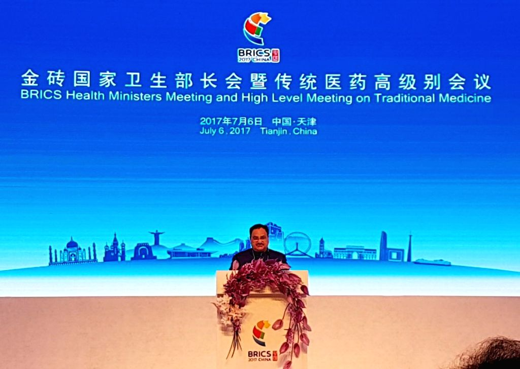 Union Minister for Health and Family Welfare JP Nadda addresses at the 'BRICS Health Ministers' meeting, in Tianjin, China on July 6, 2017.