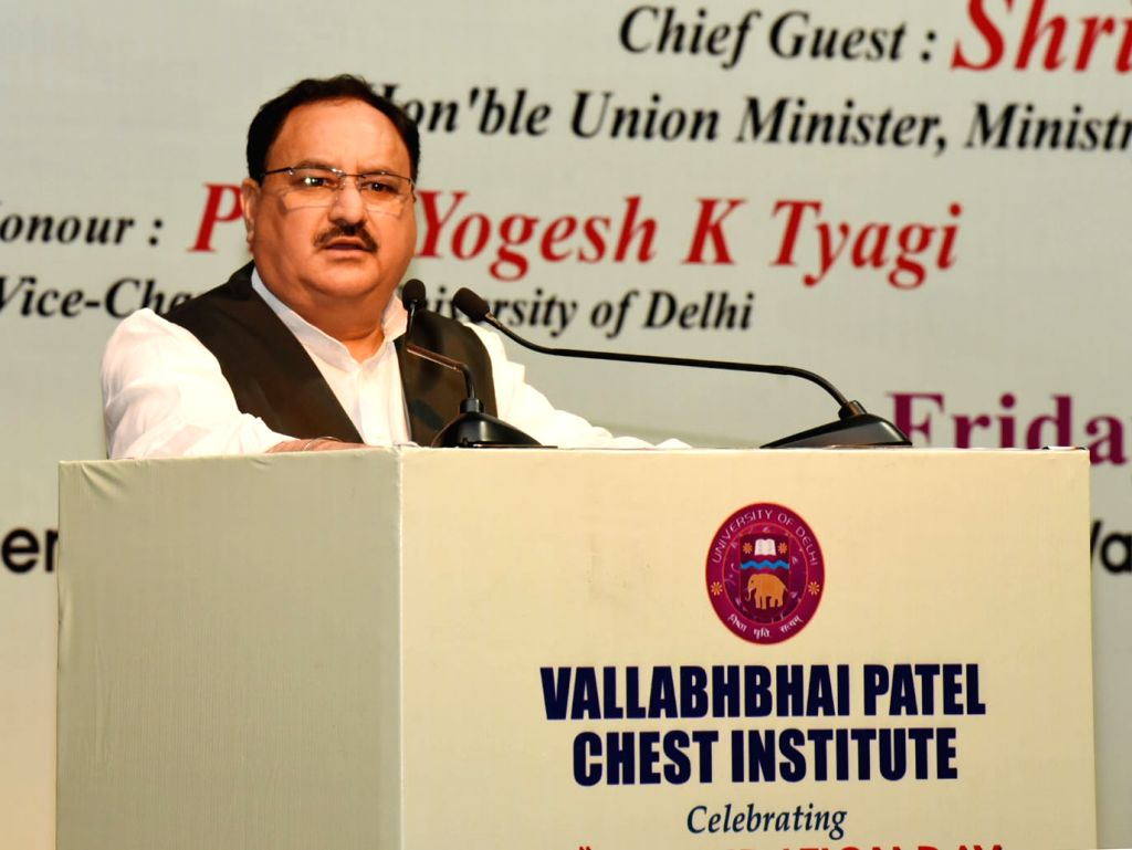Union Minister for Health and Family Welfare JP Nadda addresses at the 69th Foundation Day celebrations of the Vallabhbhai Patel Chest Institute (VPCI), in New Delhi on April 6, 2018.