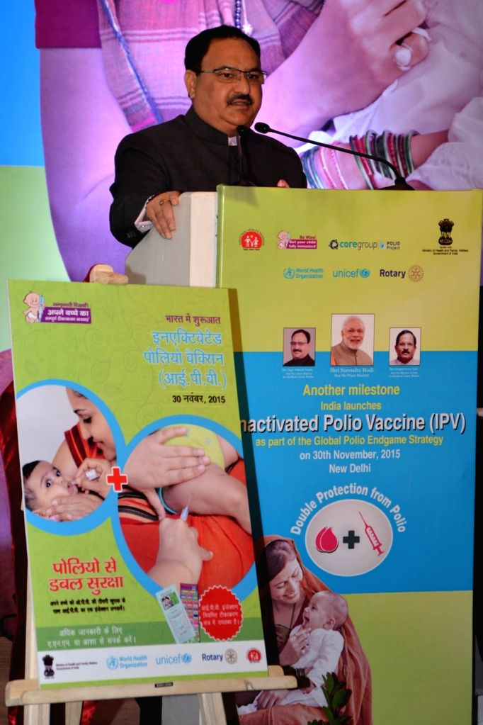 Union Minister for Health & Family Welfare J P Nadda addresses at the launch of the Inactivated Polio Vaccine (IPV), in New Delhi on Nov 30, 2015.