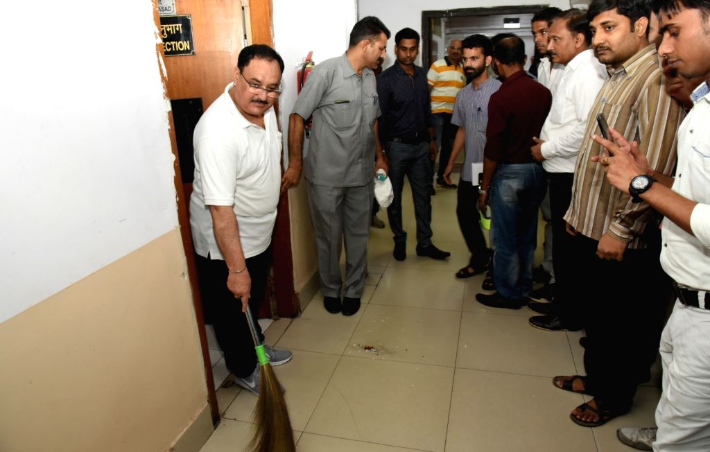 "Union Minister for Health & Family Welfare J.P. Nadda participats in cleanliness drive on the occasion of the ""Swachhata Hi Sewa"" Abhiyan, in New Delhi on Sept 15, 2018."