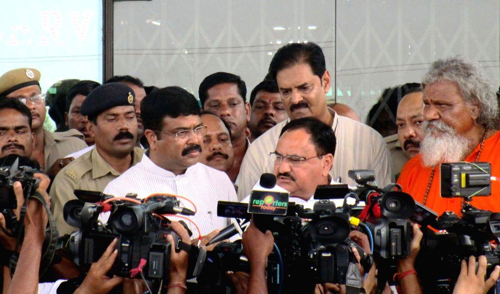 Union Minister for Health & Family Welfare, JP Nadda talks to press at the SUM Hospital, in Bhubaneswar, Odisha on Oct 19, 2016.
