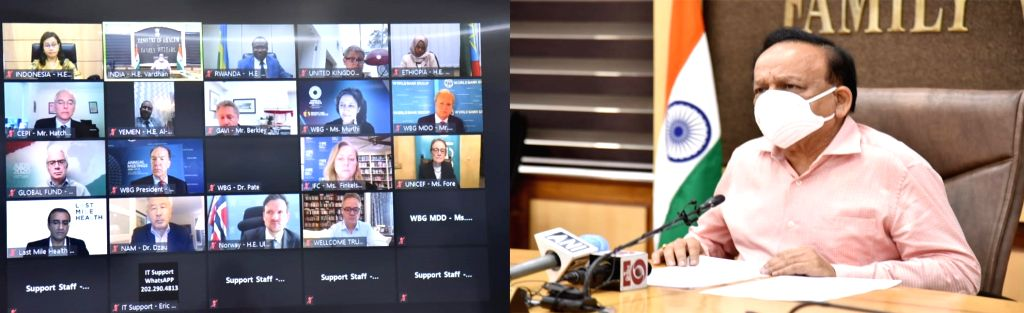 Union Minister for Health & Family Welfare, Science & Technology and Earth Sciences, Harsh Vardhan virtually addresses the World Bank- IMF annual meeting 2020, in New Delhi on Oct ...