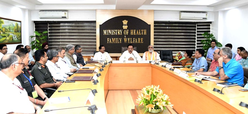 Union Minister for Health & Family Welfare, Science & Technology and Earth Sciences, Dr. Harsh Vardhan along with the Minister of State for AYUSH (Independent Charge) and Defence ...