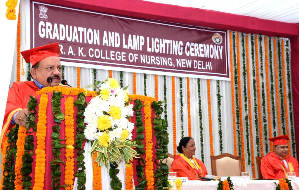 Union Minister for Health & Family Welfare, Science & Technology and Earth Sciences, Dr. Harsh Vardhan addresses at the Graduation Ceremony of the Raj Kumari Amrit Kaur College of ...
