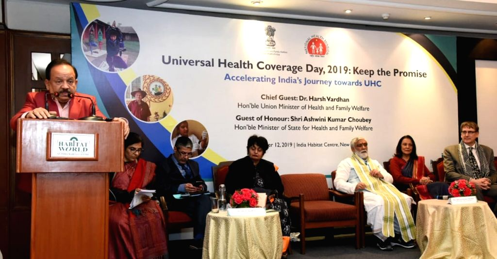 Union Minister for Health & Family Welfare, Science & Technology and Earth Sciences, Dr. Harsh Vardhan addresses at the Universal Health Coverage Day celebration, in New Delhi on ...
