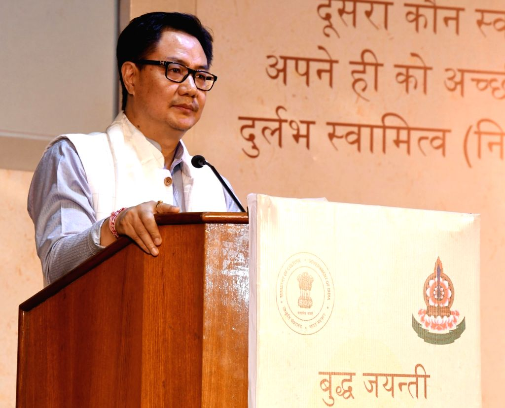 """Union Minister for Home Affairs Kiren Rijiju addresses at """"Buddha Jayanti Celebration 2017"""" organised by the Ministry of Culture, in New Delhi on May 10, 2017."""