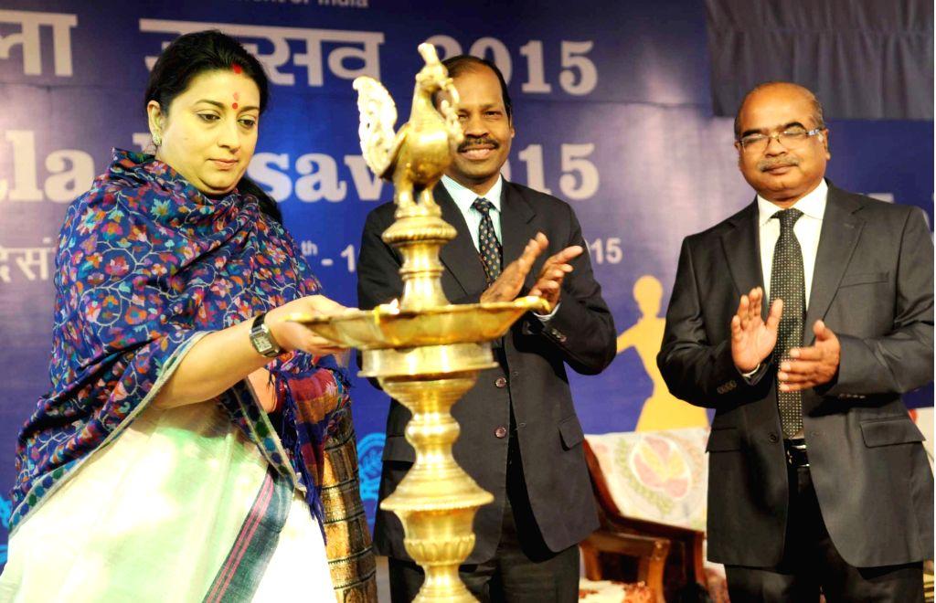 "Union Minister for Human Resource Development Smriti Irani at the inauguration of ""Kala Utsav"", in New Delhi on Dec 8, 2015."