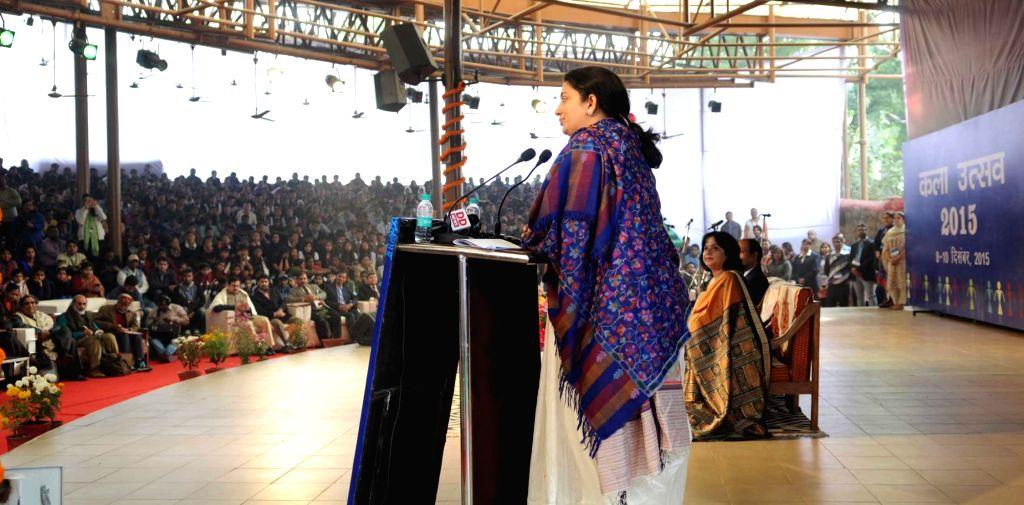 "Union Minister for Human Resource Development Smriti Irani addresses at the inauguration of ""Kala Utsav"", in New Delhi on Dec 8, 2015."
