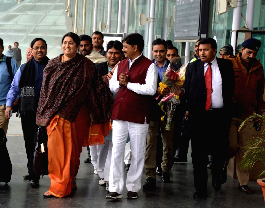 Union Minister for Human Resource Development Smriti Irani at the Chaudhary Charan Singh International Airport in Lucknow, on Jan 16, 2016.