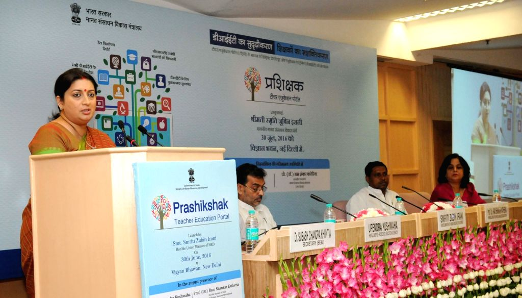 """Union Minister for Human Resource Development Smriti Irani addresses at the launch of the """"Prashikshak"""" teacher education portal for District Institutes of Education and Training ..."""