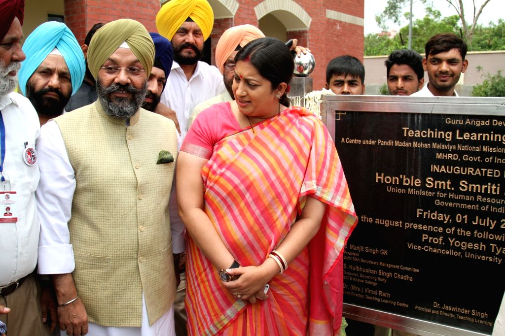 Union Minister for Human Resource Development Smriti Irani during the inauguration of the Teaching Learning Centre under Pandit Madan Mohan Malviya National Mission on Teacher and Training ...