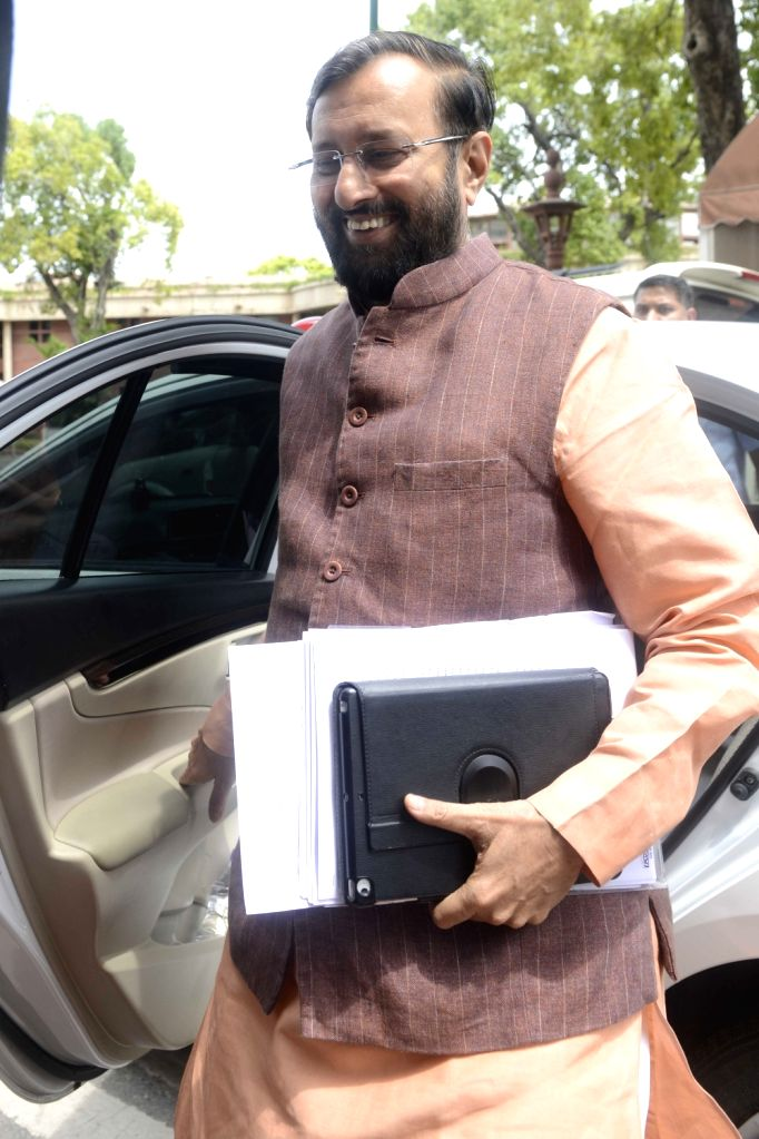 Union Minister for Human Resource Development Prakash Javadekar at Parliament in New Delhi, on July 21, 2016.