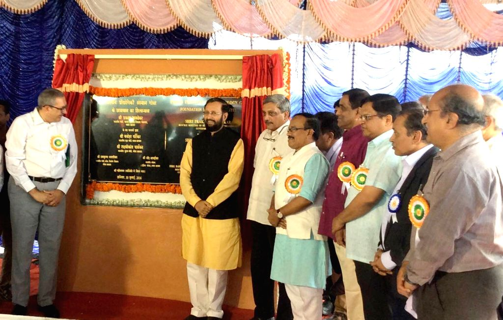 Union Minister for Human Resource Development Prakash Javadekar laid the foundation stone for the new hostel block of IIT-Goa, at Farmagudi, in Ponda, Goa on July 30, 2016. Also seen the Union ... - Laxmikant Parsekar