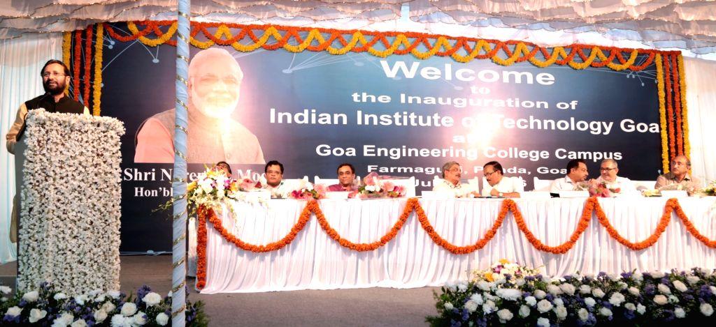 Union Minister for Human Resource Development Prakash Javadekar delivering the inaugural address at the IIT-Goa, at Farmagudi, Ponda, Goa on July 30, 2016. The Union Minister for Defence Manohar ...