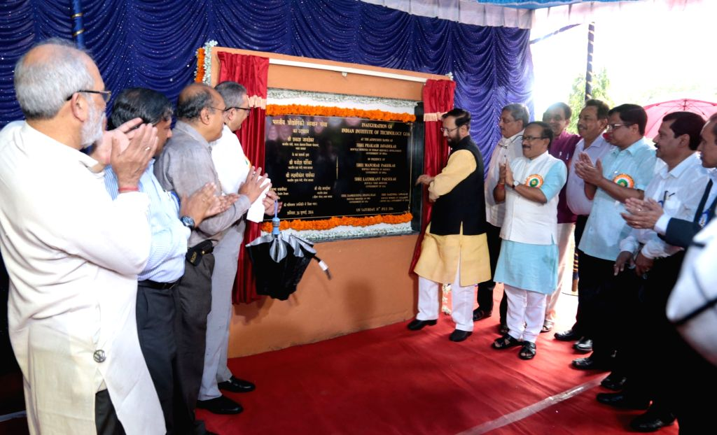 Union Minister for Human Resource Development Prakash Javadekar unveiling the plaque at the inauguration of IIT-Goa, at Farmagudi, Ponda, Goa on July 30, 2016. The Union Minister for Defence ...