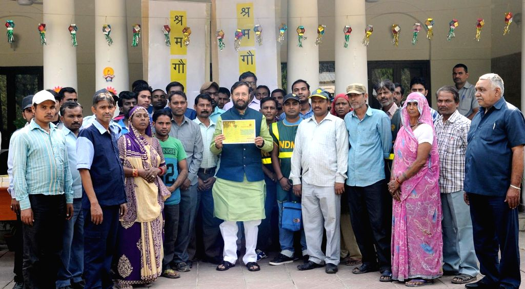 Union Minister for Human Resource Development Prakash Javadekar holds Diwali Get-Together with Swachhata Karmacharis in New Delhi on Oct 27, 2016.