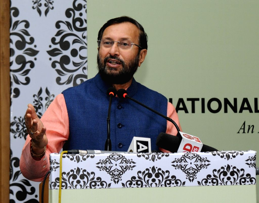Union Minister for Human Resource Development Prakash Javadekar addresses at the inauguration of the 'National Consultation on Revised Accreditation Framework' organised by the National ...