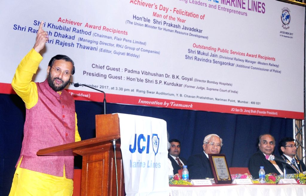 Union Minister for Human Resource Development Prakash Javadekar addresses at the award function of the Junior Chamber International Marine Lines, in Mumbai on Sept 17, 2017.