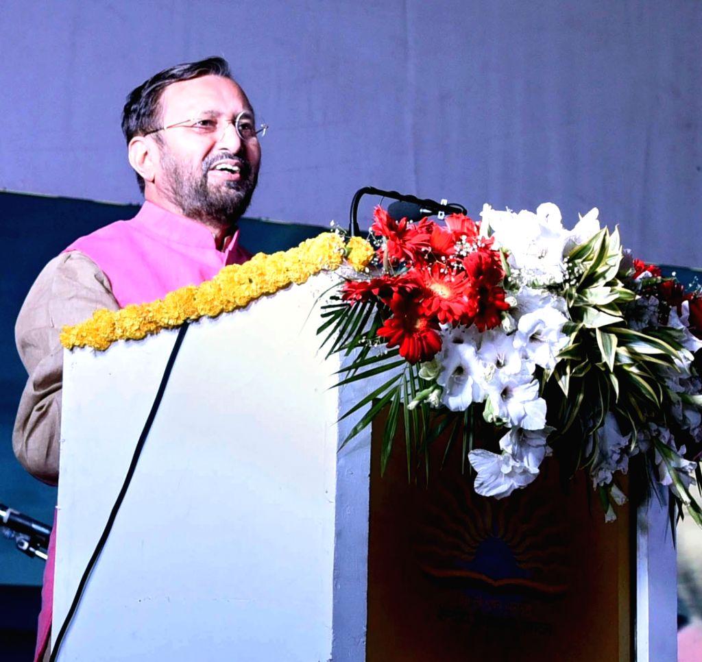 """Union Minister for Human Resource Development Prakash Javadekar addresses at the KVS Rashtriya Ekta Shivir-2018, """"Ek Bharat-Shreshth Bharat"""" in New Delhi on Nov. 1, 2018."""