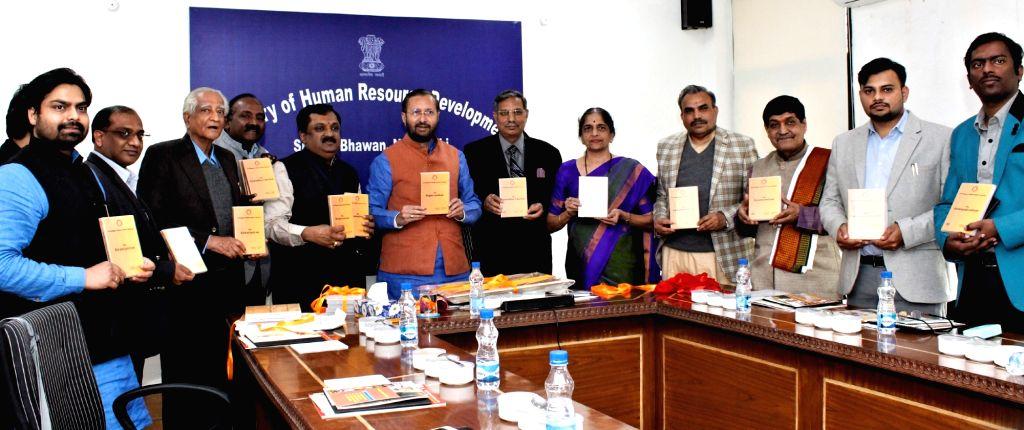 Union Minister for Human Resource Development Prakash Javadekar releases the Documentaries on Pancha Mahakavyas and Coffee Table Book, prepared by Kavikulaguru Kalidas Sanskrit University, ...