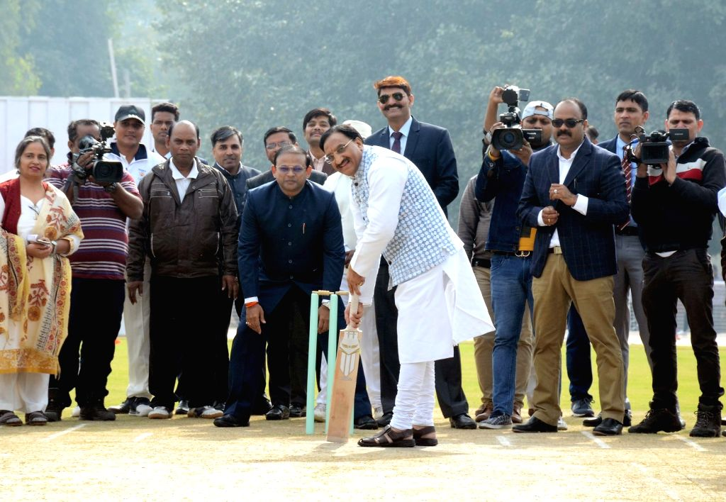 Union Minister for Human Resource Development, Dr. Ramesh Pokhriyal 'Nishank' in action during the inauguration of the Cricket Stadium, at Kendriya Vidyalaya No. 1, Delhi Cantt., in New ...