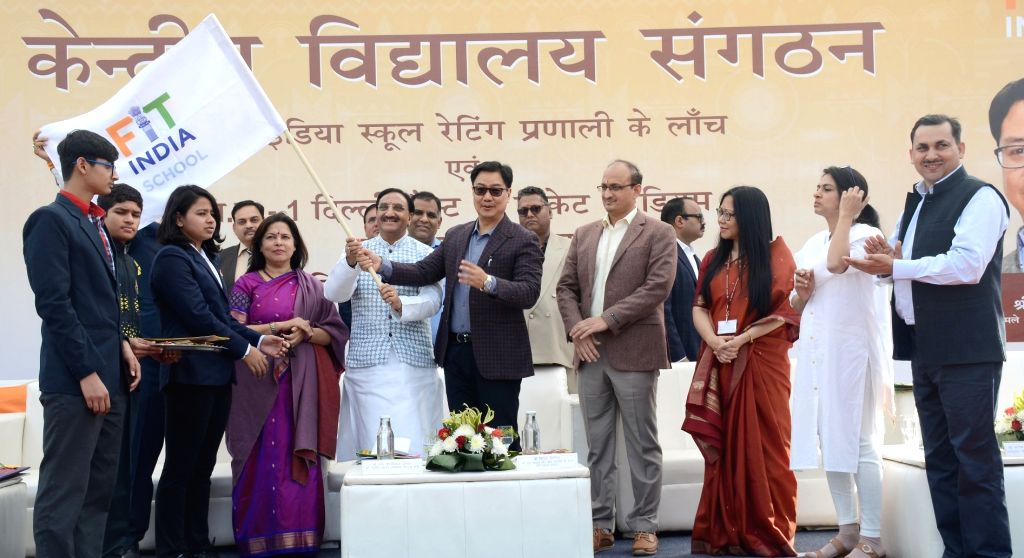 Union Minister for Human Resource Development, Dr. Ramesh Pokhriyal 'Nishank' along with the Minister of State for Youth Affairs and Sports (Independent Charge) and Minority Affairs Kiren ...