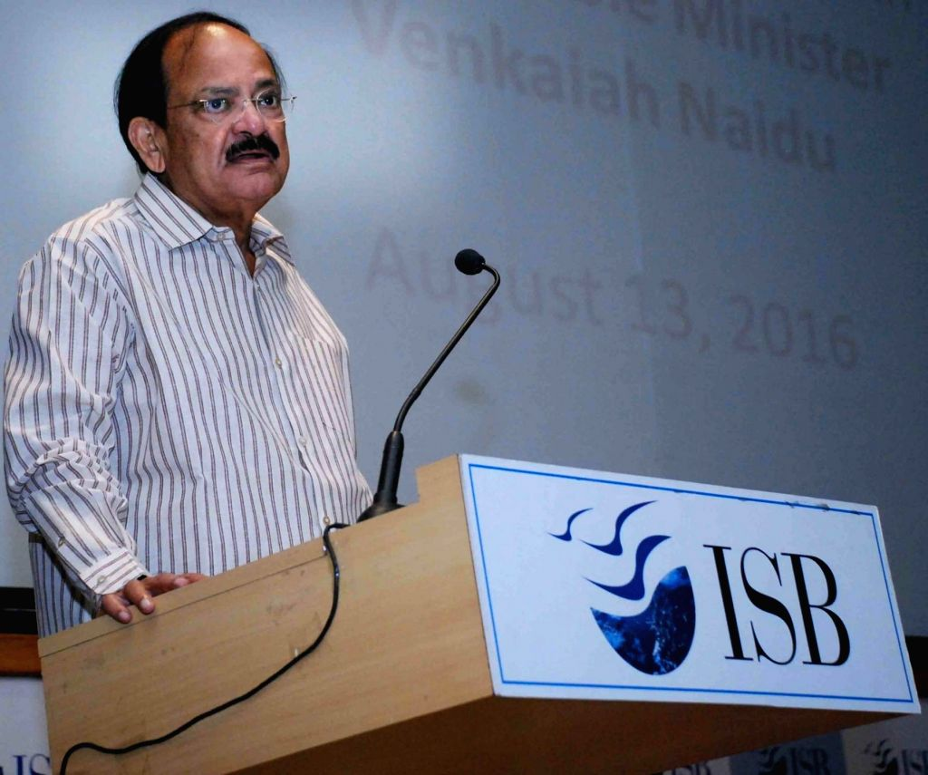Union Minister for Information and Broadcasting M Venkaiah Naidu addresses during the ISB Community programme on 'Emerging Media's Role in India's Growth', at Indian School of Business on ... - M Venkaiah Naidu