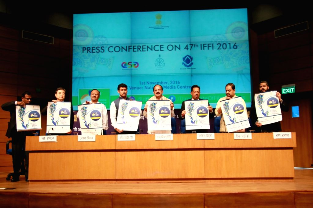 Union Minister for Information and Broadcasting M Venkaiah Naidu, Union MoS Information and Broadcasting Col. Rajyavardhan Singh Rathore and Ambassador of the Republic of Korea to India ... - M Venkaiah Naidu and Rajyavardhan Singh Rathore