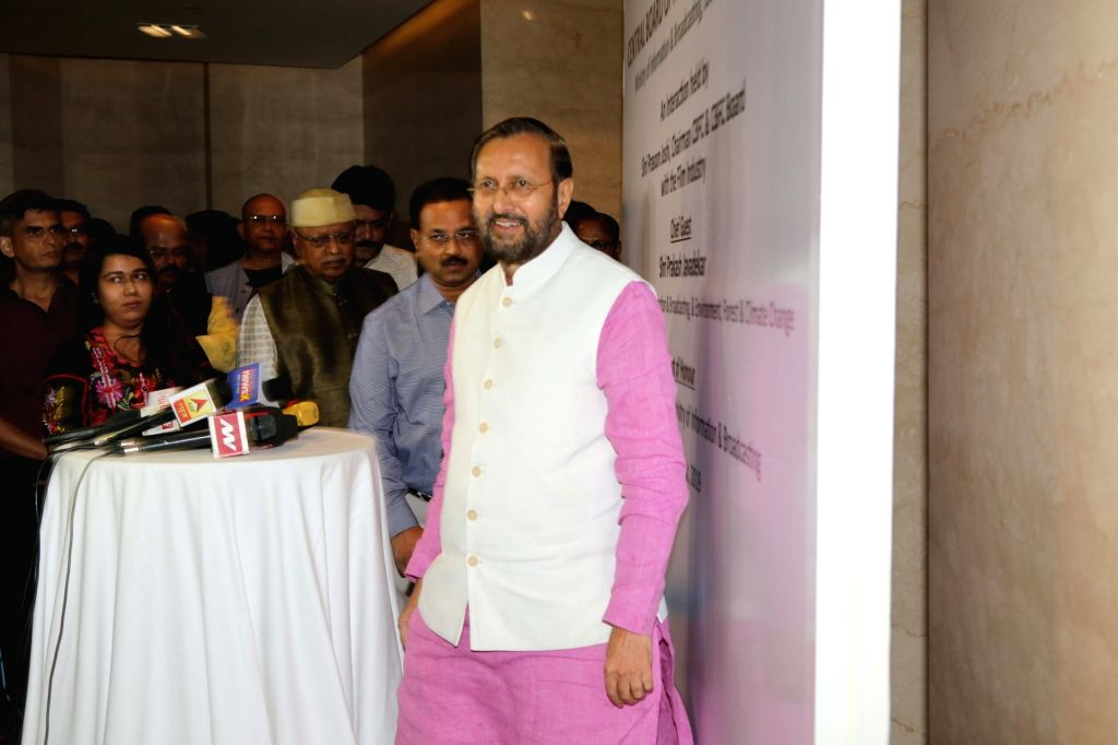 Union Minister for Information & Broadcasting and Environment, Forest & Climate Change Prakash Javadekar during the launch of the new logo and certificate design of Central Board of ...