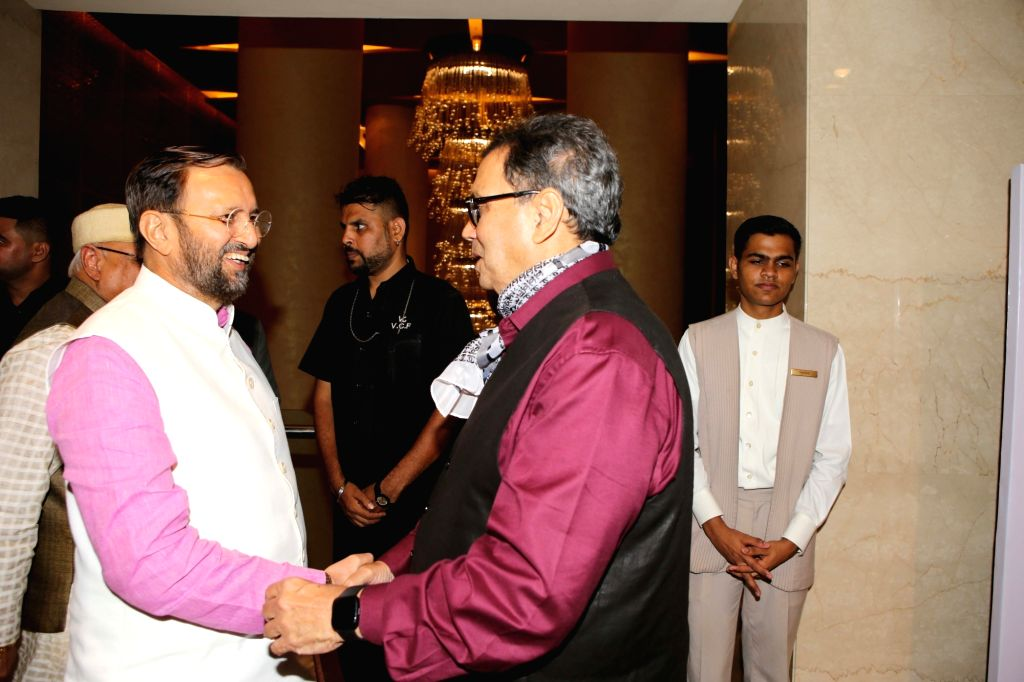 Union Minister for Information & Broadcasting and Environment, Forest & Climate Change Prakash Javadekar and filmmaker Subhash Ghai during the launch of the new logo and certificate ...