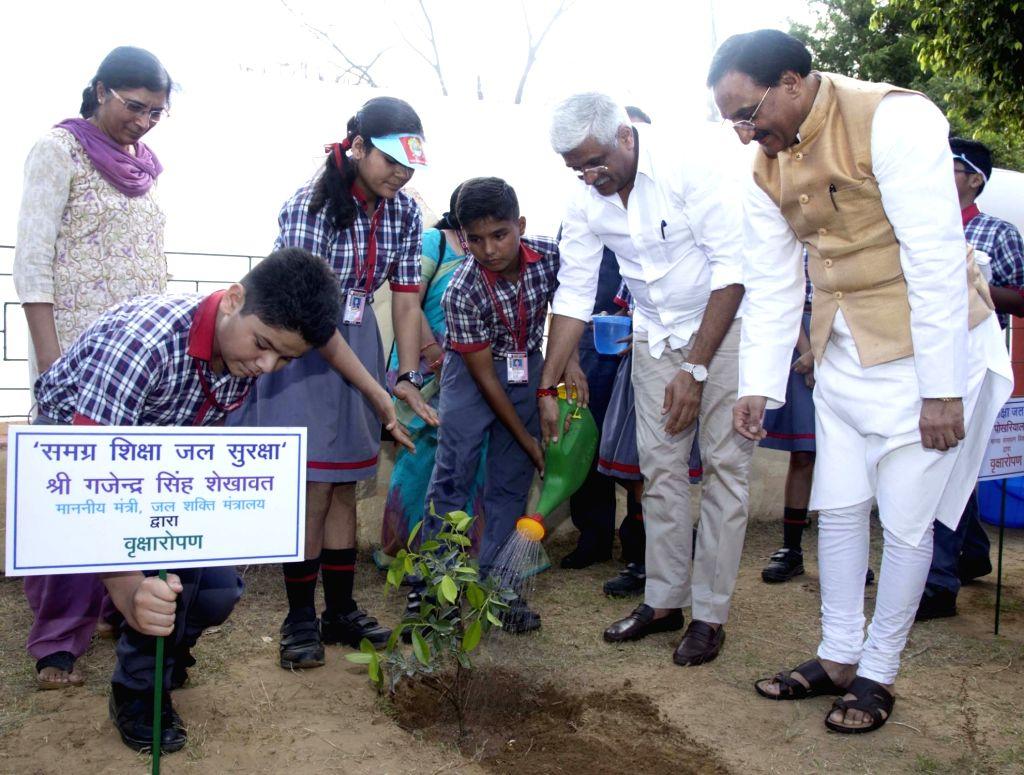 Union Minister for Jal Shakti Gajendra Singh Shekhawat plants a sapling at Kendriya Vidyalaya No. 2, Delhi Cantt., during the inauguration of the 'Samagra Shiksha Jal Suraksha' in New ...