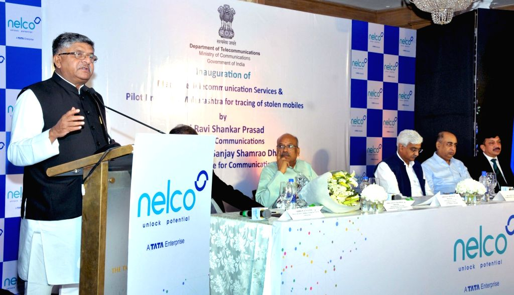 Union Minister for Law & Justice, Communications and Electronics & Information Technology Ravi Shankar Prasad addresses at the inauguration of the Maritime Telecommunication Service ...