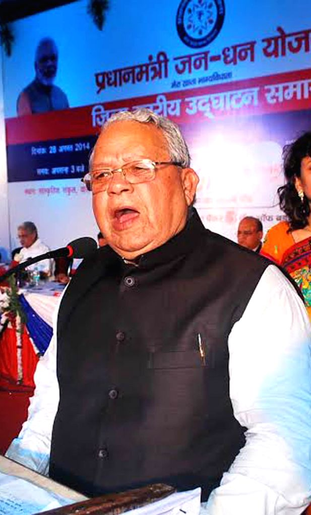 Union Minister for Micro, Small and Medium Enterprises Kalraj Mishra addresses at the inaugural function of Prime Minister Jan-Dhan Abhiyan in Varanasi on Aug 28, 2014. - Enterprises Kalraj Mishra