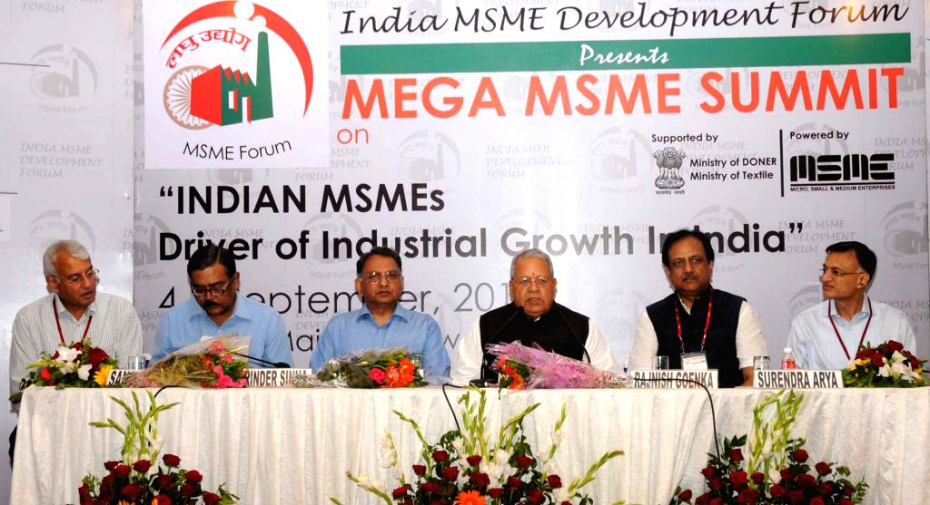 Union Minister for Micro, Small and Medium Enterprises, Kalraj Mishra addresses at the Mega MSME Summit on `Indian MSMEs Driver of Industrial Growth in India`, in New Delhi on September 04, 2014. - Kalraj Mishra