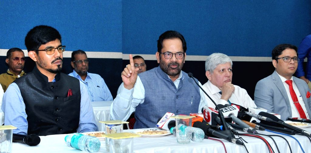 Union Minister for Minority Affairs Mukhtar Abbas Naqvi addresses a press conference at the two day Training Programme of Khadim-Ul-Hujjaj, in Mumbai on Feb 9, 2019.